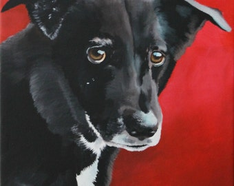 Custom pet portrait hand painted from your photo - dog painting - dog lover gift - red background