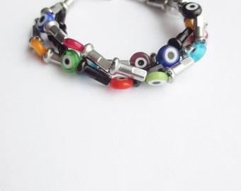 Evil Eye Bead and Bicycle Spoke Nipple Bracelet ,  Totem Jewelry , Bicycle Accessories
