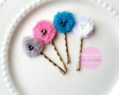4 piece Mini Flower Hair Clips, Children Hair Accessories for Girls Bobby Pins, Small Floral Hair Pins Toddler Baby, Pink, Blue, White, Grey