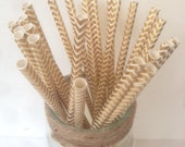 Gold Foil Chevron Straws ~ Metallic Gold Straws ~ Paper Straws ~ Cocktail Straws ~ Drinking Straws