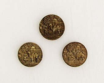 Vintage buttons with Arabian desert scene, set of 3 composition buttons with scene of camel and mosque, 1920's buttons