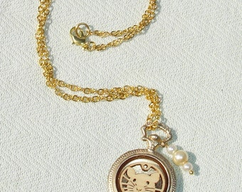 Cute Rat Pocket Watch Pendant with Golden Necklace