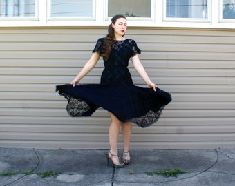 Vintage 80s Black Lace Dress - Sequin Cocktail Party Dress - S/M