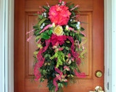 "Spring/ Summer wreath ""Butterfly Kisses"", teardrop floral swag, front door summer wreaths, vertical floral swag, door swag, bird wreath"