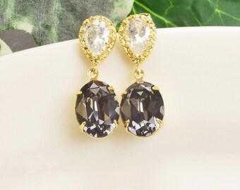 Charcoal Gray Earrings - Swarovski Earrings - Crystal Drop Earrings - Bridesmaid Earrings Gold - Bridesmaid Jewelry - Swarovski Jewelry