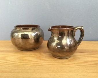1930s Bronze Sugar Bowl and Creamer Jug Pitcher Lustreware Motto Ware Devon Ware Torquay Ware England