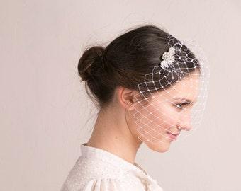 Bridal Rhinestone Birdcage Veil, wedding veil, full birdcage