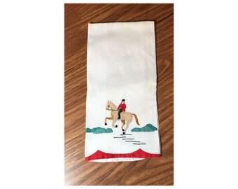 1950s Equestrian Guest Towel Vintage Cotton Applique Towel Browns Red Green Tea Towel