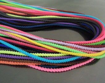 Elastic Cord 2.5mm - 23 Available Colour Soft Round Stretch Elastic Drawcord Rope Cord with Cotton Cord ( 1 , 5 or 10 Yards )