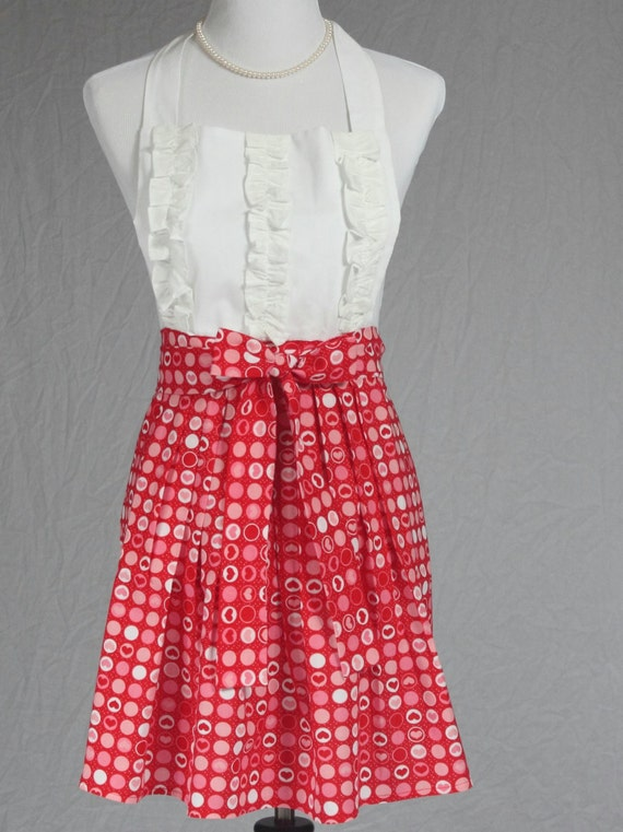 Women's Cute Full Handmade Kitchen, Hostess/Cooking Apron, Red, White and Pink Heart Print Fabric Apron, Ruffled Apron, Pleated Skirt Apron