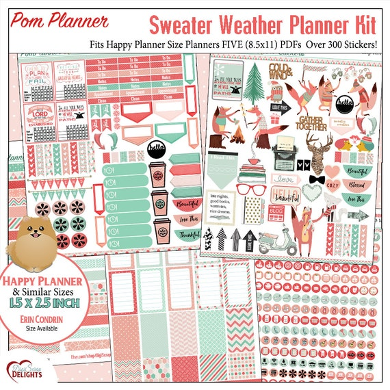 Sweater Weather Printable Planner Kit  5 PDFs Over 300 Stickers EC or Happy Planner, Coral & Mint Bible Foxes Fall Winter Icons