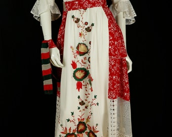 Embroidered dress Loose upcycled clothing Layered boho chic long dress Tiered summer french market white lace red floral rayon midi dress M