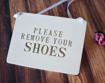 Please Remove Your Shoes Sign, No Shoes Sign, Handmade Ceramic Sign, Available in Different Colors