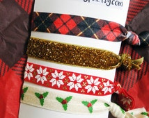 Plaid and gold Christmas creaseless hair tie bracelets, cute stocking stuffers for girls
