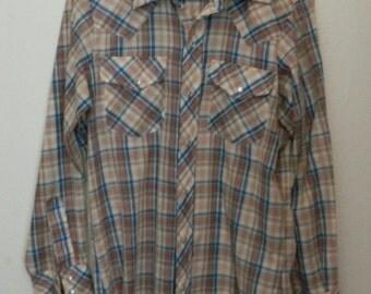 Vtg Silver Spur Western Pearl Snap Button Down Shirt Blue Brown Tan Plaid Mens Sz Sm-Med