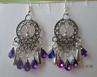 Silver Tone Chandelier Earrings with Purple Teardrop Crystal, and Silver Tone Dangles