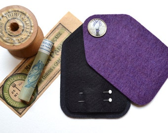 Sewing Needle Case - Needle Holder - Purple Felt - Handmade