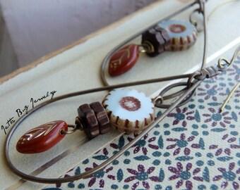 Flowerdrops- teardrop dangle earrings. burnt orange. periwinkle blue. Czech glass. lightweight boho floral earrings. Jettabugjewelry