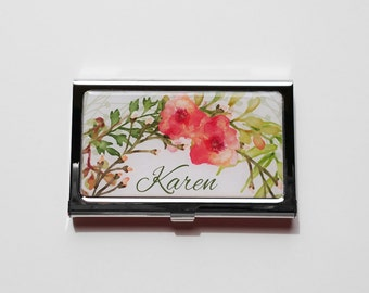 Personalized Business Card Holder, Custom Flower Business Card Case, Metal Credit Card Holder, Personalized Gift, Custom Staff Gift Case E03