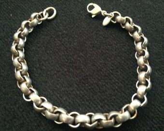 On Sale Vintage Monet Silver Link Bracelet/ Signed Jewelry