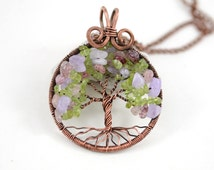 Family Tree Necklace SunCatcher Tree of Life Pendant Copper Wire Wrapped Pendant Wired Copper Jewelry Amethyst Rose Quartz Peridot Rustic