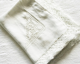 Vintage Romantic Home Snow White Floral Cutwork Embroidered Table Linen, Olives and Doves