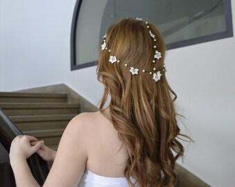 Bridal Boho Hairband, Crochet Headband, Bridal Headband, Wedding Hairpiece, Hair Jewelry, Pearl Beaded Headband, Women's Gift