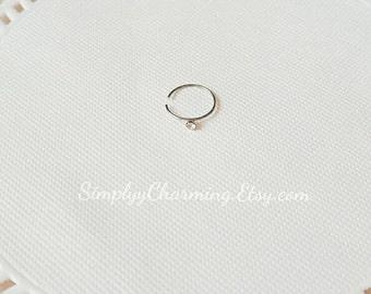 Simple Tiny Rhinestone Nose Ring Hoop Nose Ring Body Piercing Silver Delicate Dainty Jewelry