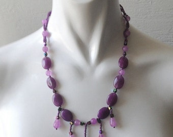 Mystical Purple Tear Drop Natural  Amethyst and Jade Necklace,Woven Jewelry,Art Deco Vintage Inspired, Amethyst Necklace,Romantic Jewelry