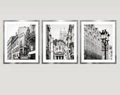 Black and white Paris set of 3 prints, architecture photography prints, city art, extra large wall art set, oversized art, 8x10,16x20, 24x30