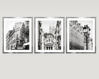 Black and white Paris set of 3 prints, city architecture photography, grey art, extra large wall art set of 3, 8x10, 11x14, 16x20, 24x30