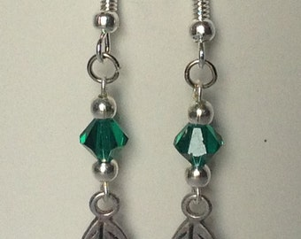 Leaf Earrings with Green Swarovski Crystals