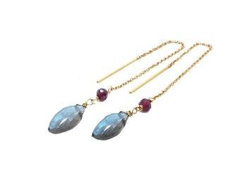 Labradorite Earrings, Gemstone Threader Earrings, Garnet Earrings, Thread Earrings Gold Filled, Gemstone Earrings, Minimalist Jewelry
