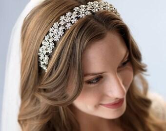 Accessories,Wedding Headband,Rhinestone Bridal Headpiece,Floral Headpiece,Crystal Headband, Crystal Bridal Headband, Bride Headband ~TI-3171