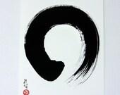 Abstract Painting Black and White Art Print Modern Art Print Minimalist Art Zen Art Japanese Art Enso Print Zen Circle Japanese Calligraphy