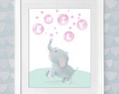 Personalized Kid's Art Print Baby Elephant Blowing Pink or Blue Bubbles Baby Toddler Boy Girl Bedroom Nursery Wall Art Shower Birthday Gift