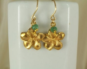 Plumeria flower of vermeil with tiny emerald on gold filled earrings gemstone handmade MLMR item 767