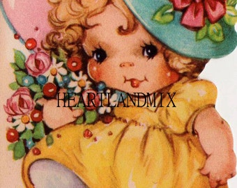 Vintage Girl Happy Birthday Card Download Printable Digital Image
