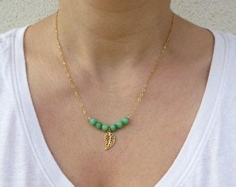 Summer SALE - Gemstone bar necklace, Green jade necklace, Filigree leaf necklace