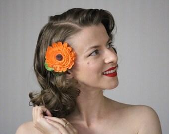 "Orange Hair Accessory, Fall Flower Clip, Autumn Fascinator, 1950s Headpiece, Calendula Hair Piece, Tangerine, Vintage - ""Autumn Nectar"""