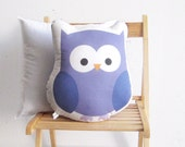 Stuffed toy, purple owl soft pillow, Decorative cushion, Children pillow, kids toy, baby deco, baby room stuffed toy, nursery room