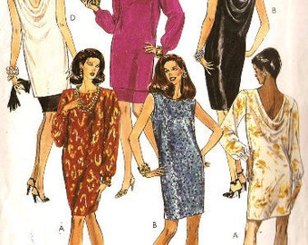 McCall's 5706 Misses' Retro 1990s One or Two Piece Dress with Cowl Neckline Sewing Pattern