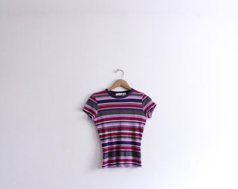 Purple Striped 90s Ribbed Tee