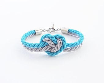Heart knot bracelet - bridesmaid gift - bridesmaid bracelet - heart bracelet - rope knot bracelet - rope jewelry - blue wedding