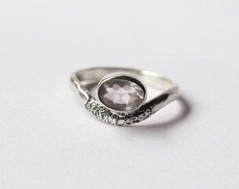 Rose Quartz Ring, Sterling Silver Ring, Personalized Ring, Boho Ring, Midi Ring, Stacking Ring, Gemstone Ring, Bohemian Rings