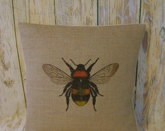 Bumble Bee - Hessian Jute Burlap cushion /pillow cover Vintage French shabby chic country UK handmade