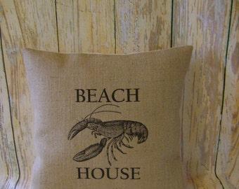 "Beach house (Lobster) - 16"" Hessian Jute Burlap cushion/pillow cover nautical/coastal shabby chic country UK handmade"