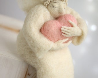 Needle Felted Angel - Dreamy Angel With A Big Pink Heart - Needle Felted Angel Doll - Angel Home Decor - Guardian Angel - Blush Pink