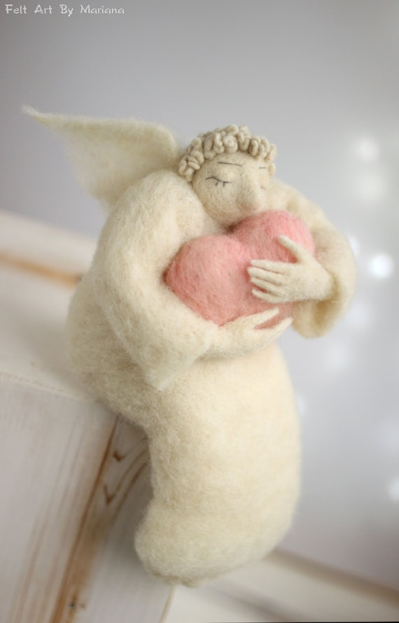 Needle Felt Angel - Dreamy  Angel With A Big Pink Heart - Needle Felted - Art Doll - Felted Art Angel Doll - Home Decor - Guardian Angel