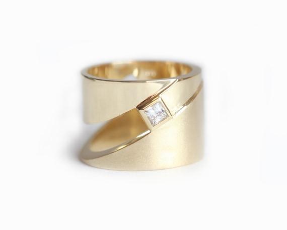 geometric ring modern gold ring wide wedding ring mens